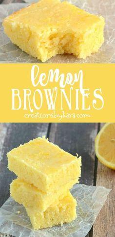 Easy lemon brownies are always a hit! We like these lemon squares even more than traditional lemon bars. So easy to make. #lemonbrownies #lemonsquares #lemondessert #lemonrecipe via creationsbykara.com