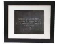 Vince Lombardi Success Is Never Final Quote Inspirational Motivational Typography Poster Print Home Decor