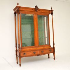 Antique Victorian Satinwood Display Cabinet - Antiques Atlas Restoration House, Furniture Restoration, Antique Furniture, Modern Furniture, Antique Display Cabinets, Smart Kitchen, Brass Handles, Furniture Inspiration, Glass Shelves