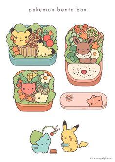 Pokemon Bento by strangelykatie.de… on Pokemon Bento by strangelykatie. Cute Kawaii Drawings, Kawaii Art, Cute Food Art, Cute Art, Deviantart Pokemon, Chibi Food, Cute Doodles, Kawaii Doodles, Kawaii Wallpaper