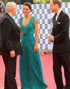 Modern a-line chiffon v-neck Cap Sleeves Beaded empire evening dress - gopromdres.com