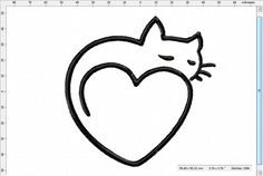 Sleepy Cat Heart Machine Embroidery Design by LightsOutCreations on Etsy Simple Cat Drawing, Kitty Drawing, Machine Embroidery Designs, Embroidery Patterns, Embroidering Machine, Tattoo Mama, Cat Outline, Black Cat Tattoos, Shape Crafts