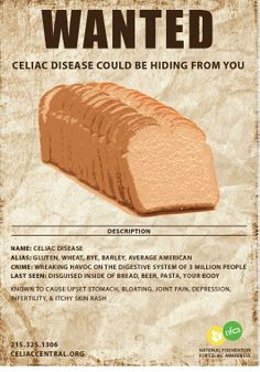 May is Celiac Disease Awareness month! Visit celiaccentral.com for more information.  created by Nina Smith © 2014