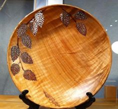 Shallow Birch Bowl with pierced and watercolour leaf design