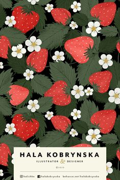 Summer pattern with strawberries. Strawberries leaves and flowers illustration. Berries pattern. Hand drawn fruit pattern with strawberries, green leaves and white flowers. Perfect for textile  pink, barberry flowers, wild strawberries, hand drawn, beautiful, elegance, elegant, gardening, wild strawberry, romantic, blooming, botanical, blossom, vintage, flower, spring, repeat, ornament, fabric, textile, illustration, seamless, background, texture, jam, strawberry pattern, textile pattern