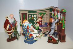'All through the house' Dept 56 set of 7 pieces. all have tags and 2 have boxes. All made of a poly/resin material. I am willing to split up set but will have to be re-listed as individual pieces. All measurements are approx. #1-'Nicholas hanging coat. #2&3-'Theodore adjusts the clock ***boys finger is cracked and glued back but not broken off*** clock #4-'Down the chimney' #5-'Visions of sugar plums'  #6-Staircase with box ***Chip off garland at corner of railing*** #7-'Jolly old elf'' with box