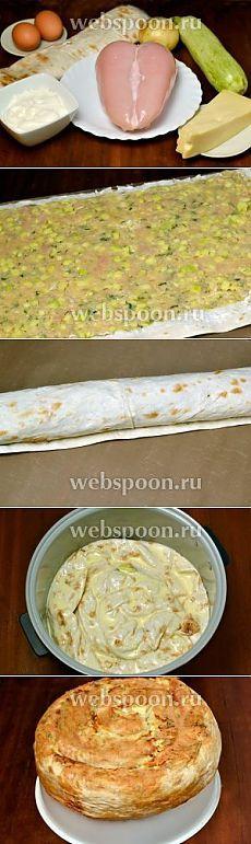 Спиральный пирог из лаваша с начинкой в мультиварке рецепт с фото, как приготовить на Webspoon.ru