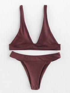 8b71a3d0d2f0f Plunge Neckline Beach Bikini Set Bikini Babes