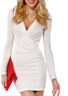 Deep V-neck Long Sleeves Dress