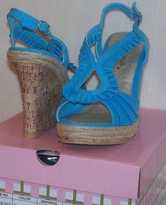 Wild Diva Aqua Blue Retro Mirna Wedge Sandal Shoe 8.5