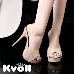 T26666 Kvoll gentlewomen rhinestone high-heeled slipper gold [T26666] - $20.50 : China,Korean,Japan Fashion clothing wholesale and Dropship online-Be the most beautiful Lady