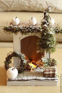 Миниатюрный камин Шале - коричневый,gjlfhjr,новый год,рождество,композиция