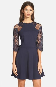 BB Dakota 'Yale' Lace Panel Fit & Flare Dress available at #Nordstrom