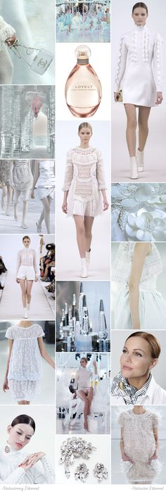 Alabaster Ethereal moodboard. One of 18 beauty types created by GretaKredka. Minimalism, styling perfectionism, clean and feminine style, slick hairstyles with middle parting, subtle silver jewelry. Color essence: shades of white, very light colors (especially pink), cool tones.