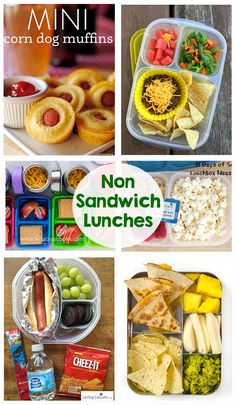 Non Sandwich School Lunches - So many great school lunch ideas in this post! Hot… Non Sandwich School Lunches - So many great school lunch ideas in this post! Hot dogs, quesadillas, mini corn dogs, mac and cheese, taco salad. Non Sandwich Lunches, Lunch Snacks, Clean Eating Snacks, Kid Snacks, Kids Lunch For School, Healthy School Lunches, Healthy Snacks, Cheap School Lunches, Snacks For School