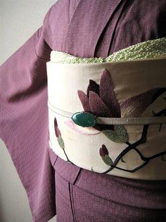 ☆白地に紫木蓮柄刺繍の名古屋帯 アンティーク着物 大正ロマン レトロ モクレン もくれん_コーディネート例です。