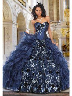 Blue Quinceanera Dresses - Navy Dress With Peekaboo Skirt