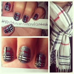 First attempt at Burberry designed nails!(: