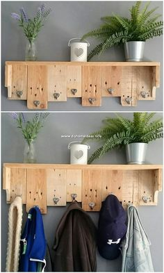 Inspiring DIY Pallet Ideas You Can Make At Home - DIY Home Ideas - No doubt that the arrangement of the coat rack design of wood pallet with the brilliant effect of w - Pallet Home Decor, Wooden Pallet Projects, Wood Pallet Furniture, Pallet Crafts, Pallet Ideas, Wood Pallets, Diy Furniture, Diy Home Decor, 1001 Pallets