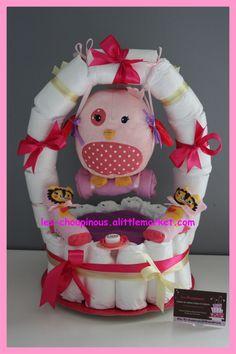 Cadeau naissance baptême gâteau de couches fille balançoire : Décoration pour enfants par les-choupinous