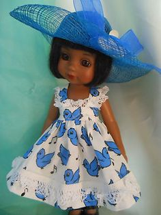 BLUEBIRD,dress  with hat  for 10 inch , Ann Estelle,Sophie, Georgia.Patsy