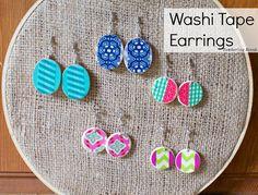 Washi Tape Earrings!  Super easy and fun!