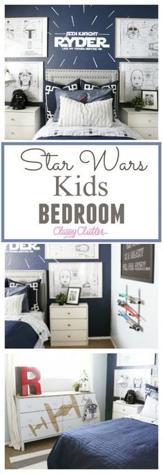 Star Wars Kids Bedroom. My little boy is OBSESSED with his room! That is all he talked about for days when it was all finished! This Star Wars room is so fun - Classy Clutter