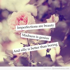 I don't think people realize that imperfections are beauty, madness is genius, and silly is better then boring. Amazing Quotes, Cute Quotes, Great Quotes, Inspirational Quotes, Silly Girl Quotes, Motivational Quotes, Funny Quotes, Badass Quotes, Teen Quotes