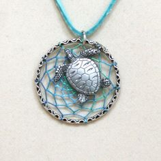 Dream Catcher Aqua Sea Turtle Antiqued Silver Dreamcatcher Necklace Variegated on Etsy, $29.76