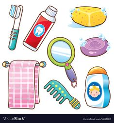 Bathroom element vector image on VectorStock Art Activities For Toddlers, Preschool Learning Activities, Preschool Worksheets, Preschool Activities, Activities For Kids, Senses Preschool, Body Preschool, Hygiene Lessons, Flashcards For Kids
