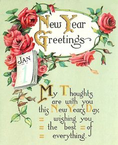 Happy New Year Poem, Vintage Happy New Year, New Year Wishes Quotes, Happy New Year Message, Happy New Years Eve, Happy New Year Greetings, Happy Wishes, Happy New Year 2019, Vintage Greeting Cards