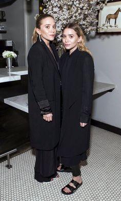 Olsens Anonymous Blog Mary Kate Ashley Olsen Twins Best All Black Looks Long Jackets Satin Skirt Dress Leather Pants Birkenstock Sandals