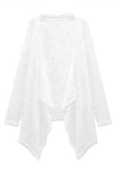 ROMWE | ROMWE Asymmetric Open Front Lace White Cardigan, The Latest Street Fashion