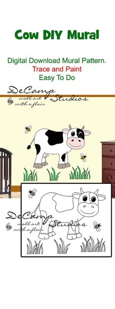 DIY Do It Yourself Barnyard Cow Wall Art Mural for baby girl or boy nursery or kids room decor. Trace and Paint By Number. Also great for church nursery, childcare, pediatric office, and preschool #decampstudios