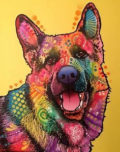 German Shepherd Dean Russo Art 16x20 Original Artwork Canvas Dog Popart