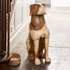Surin Guard Dog - The dogs – one life size, the other even larger – are hand carved from a single piece of monkey pod wood. Hand waxed finish protects & reveals it's golden to dark brown tones. Charmed Characters, Monkey Pod Wood, Hand Wax, Guard Dog, Single Piece, Dark Brown, Hand Carved, Larger, Carving