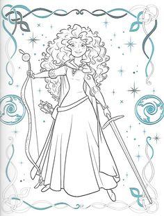Merida the Disney Princess from Brave Cinderella Coloring Pages, Disney Princess Coloring Pages, Disney Princess Colors, Disney Colors, Free Adult Coloring Pages, Coloring Book Pages, Coloring Pages For Kids, Kids Coloring, Disney Crafts
