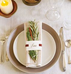 Don't wait until Thanksgiving Day to discover that last year's tablecloth has a gravy stain! Take inventory of your tablecloths, napkins, and napkin rings, and replace items as needed.