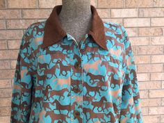Women's Western Horse Print Jacket XXL Equestrian Jean Style Teal Brown Toffe... #ToffeeApple #BasicJacket