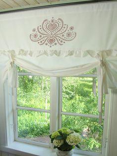 LillaBelle HERZIG Raff Gardine Weiß/Rot Raffrollo 140x100 Shabby Vintage Curtain in Möbel & Wohnen, Rollos, Gardinen & Vorhänge, Gardinen & Vorhänge | eBay!