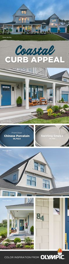 Rhode Island Beach House Exterior Color Scheme | This beautiful beach home's exterior features an updated but classic seaside architectural style. The front door is painted in Chinese Porcelain blue, and the trim in Swirling Smoke. Find these paint colors and more exterior color palettes by Olympic® Paints and Stains at Olympic.com.