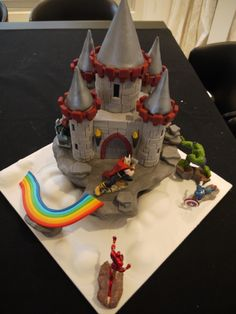 Medieval Castle - This is a cake for my 5 year old boy. He wanted a castle on clouds (like Asgard the castle of Thor) and he somehow wanted me to put the Avengers on it. So I did! The rainbow slide is used by Thor to go back to his castle.