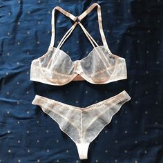 Ivory See Through Bra And Knicker Set Non Padded Underwired Various Sizes Avail