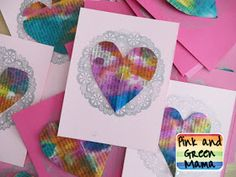 Watercolor and Newspaper Heart Valentines Pink and Green Mama Blog