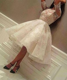 New Knee Length Cocktail Dresses 2019 Jewel Half Sleeve Ball Gown Short Modest Full Lace Arabic Prom Party Evening Gowns Cheap Custom Made Prom Dresses Long With Sleeves, Lace Evening Dresses, Tea Length Dresses, Lace Dress, Evening Gowns, Dress Long, Evening Party, Ball Gowns Prom, Ball Dresses