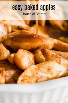 So simple and flavorful! Easy Baked Apple. This simple recipe is loaded up with fresh, sweet and tart apples and a healthy dose of spices. While these apples bake they create their own spiced caramel sauce that is perfect for drizzling over the tender apple slices. #apple #bakedapple #falldessert #glutenfree