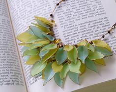 Leaf necklace made from translucent (Pardo??) polymer clay, N transp 3 tiered leaf trimmed gold (7) by GildedDaydreams, via Flickr