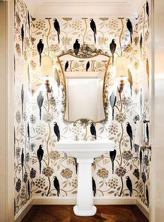 Graphic wallpaper in elegant bathroom Graphic Wallpaper, Metallic Wallpaper, Bird Wallpaper, Pattern Wallpaper, Large Print Wallpaper, Painted Wallpaper, Amazing Wallpaper, Wallpaper Designs, Bathroom Wallpaper Luxury