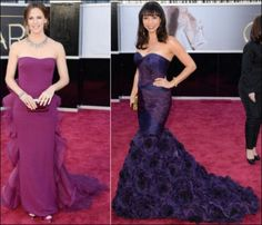 2013 Oscar red carpet dresses. PURPLE Jennifer Garner came to support her husband wearing a Gucci dress, which she accessorized with Neil Lane jewelry and a Roger Vivier clutch. Gloria Reuben wears a dark purple Oliver Tolentino silk organza gown.