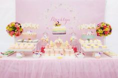 Dessert table at a Butterfly Themed 1st Birthday Party with SUCH CUTE IDEAS via Kara's Party Ideas | KarasPartyIdeas.com #Butterfly #Party #Ideas #Supplies #butterflypartyideas #desserttable